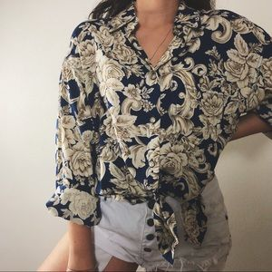 Tops - ANSLY baroque floral button down